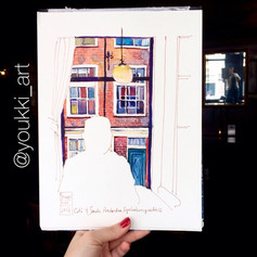 Youkki Art urban watercolor sketch Amsterdam Bar