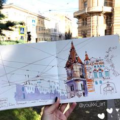 Youkki Art urban watercolor sketch Liteyny