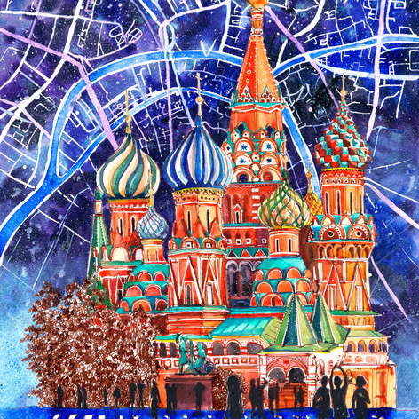 Youkki Art urban watercolor graphics Moscow St Vasiil Cathedral
