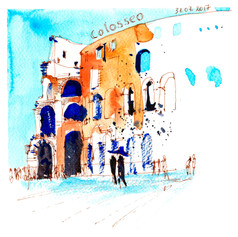Youkki Art urban watercolor sketch Rome Colosseo