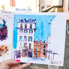 Youkki Art urban watercolor sketch Rome square