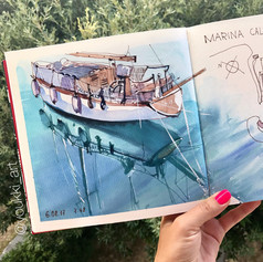 Youkki Art urban watercolor sketch Castilioncello