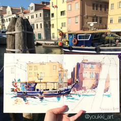 Youkki Art urban watercolor sketch Venice