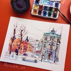 Youkki Art urban watercolor sketch Kamennostrovky