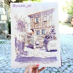 Youkki Art urban watercolor sketch Sozopol