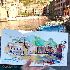 Youkki Art urban watercolor sketch Vernazza