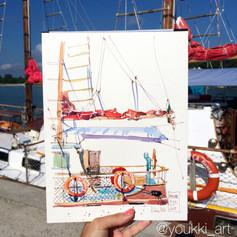 Youkki Art urban watercolor sketch Ship