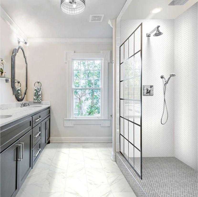 Daltile RevoTile Marble Look Bath Remodel Flooring Katy