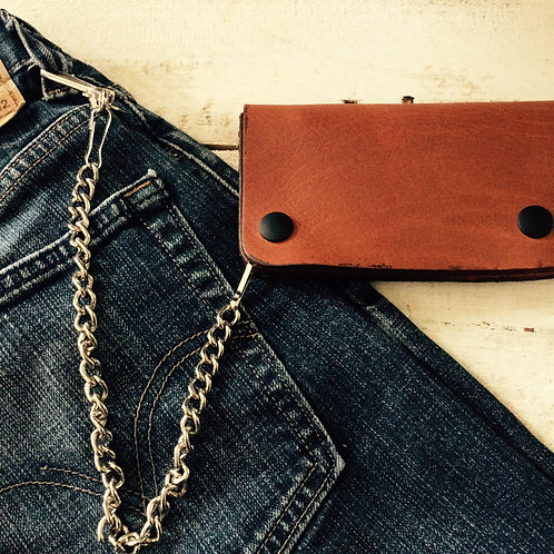 Cognac Wallet with Chain