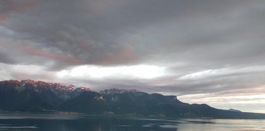 Massif des alpes françaises. Vue depuis Chexbres, Suisse
