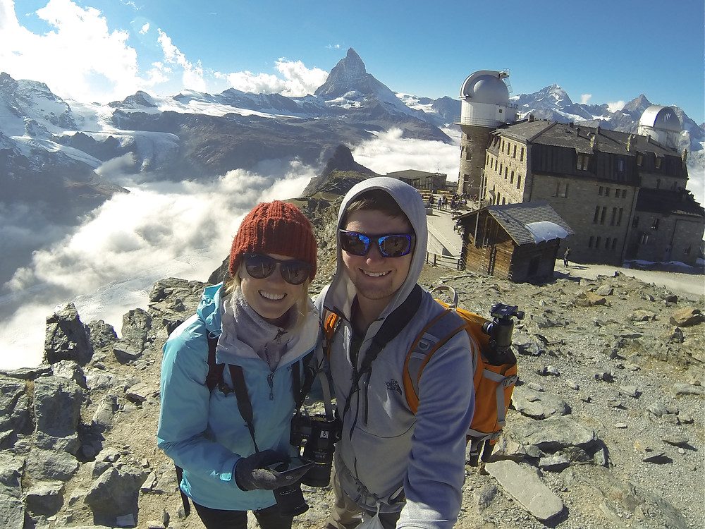Chase Dekker and Hanna Glafke stand at 10,000 feet in Gornergrat, Switzerland.