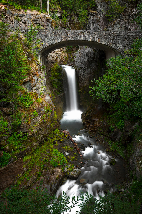 Christine Falls flow pristinely under a bridge in Mt. Rainier National Park. Photographed by Chase Dekker.
