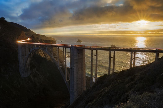 Bixby Bridge is photographed from a viewpoint along the Big Sur coastline on Chase Dekker's Big Sur workshop.