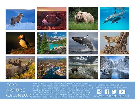 Chase Dekker's 2020 Nature Calendar back cover.
