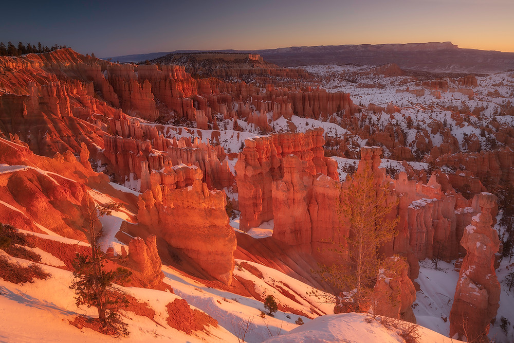 The sun rises in Bryce Canyon, casting dramatic light on the hoodoos, photographed by Chase Dekker.