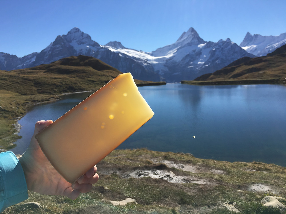 A hiker holds up Swiss cheese in front of Bachalpsee Lake in the Jungfrau region, Switzerland.