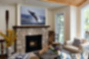 Chase Dekker's fine art whale print in living room