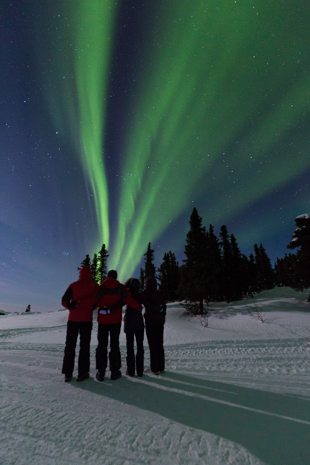 A group stands underneath the Aurora Borealis as its lights dance above them. Photographed by Chase Dekker.