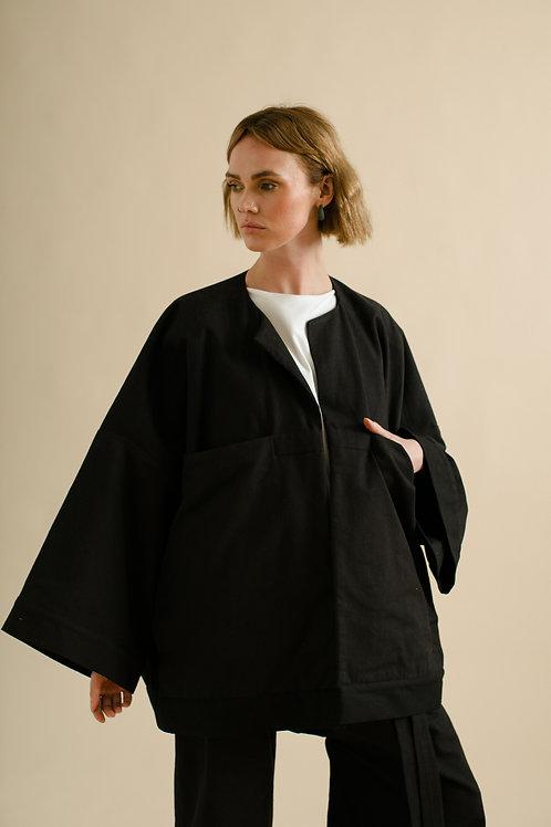 Pocket Panel Jacket : Black Canvas