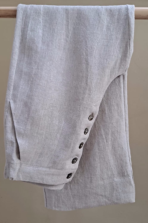 Button Up Trousers : Natural Linen