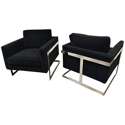 "Pair of Chrome & Velvet ""Cube"" Chairs By Milo Baughman For Thayer Coggin"