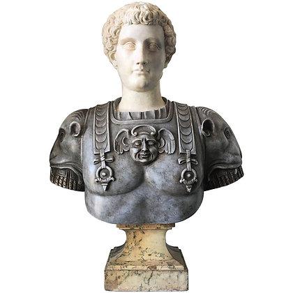 Lifesize Italian Marble Bust of a Roman Warrior, circa 1750