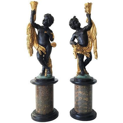 Monumental Pair of French Cast Gilt Bronze Putti