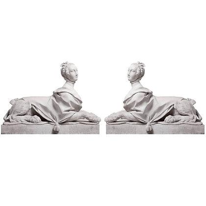 Pair of 19th Century Directoire Garden Sphinxes