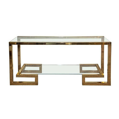 Brass Milo Baughman Style Console with Two Shelves, 1970s