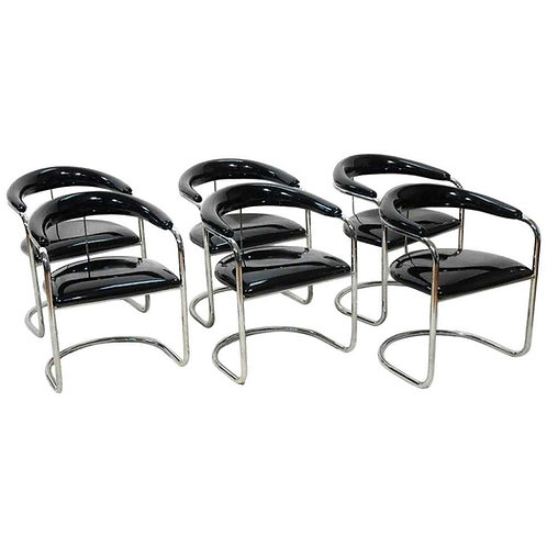 SIX BLACK PATENT LEATHER & CHROME THONET DINING CHAIRS