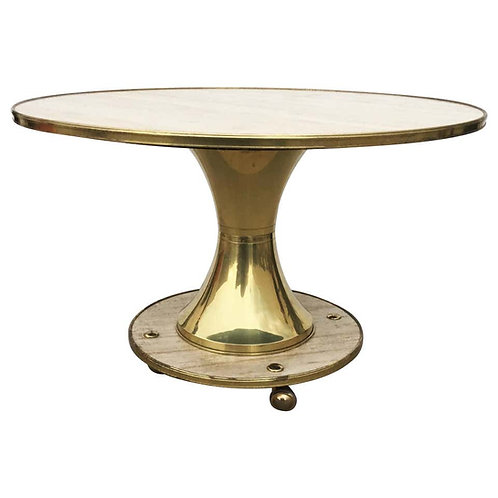 "ITALIAN TRAVERTINE AND BRASS TABLE BY WILLIAM ""BILLY"" HAINES"