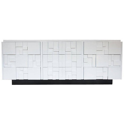 Lacquered Brutalist Credenza by Lane Furniture