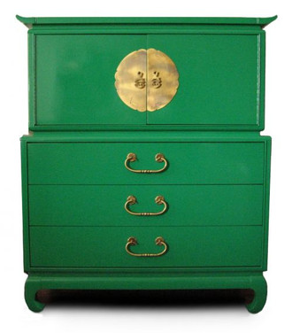 Green Lacquered Tall Chest