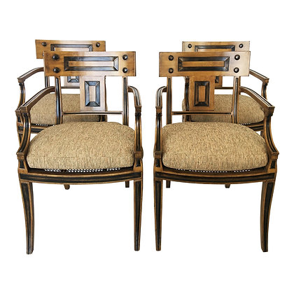 Set of Four Klismos Inspired Armchairs by Michael Taylor