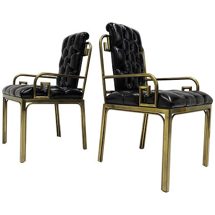 Pair Mastercraft Greek Key Design Brass Dining Chairs