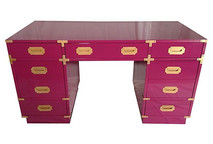 Hollywood Regency Pink Lacquered Campaign Desk