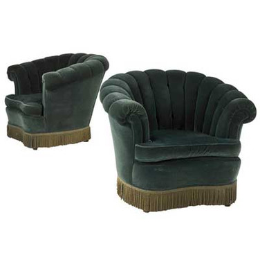 Art Deco Pair of Club Chairs Upholstered in Green Velvet