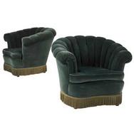 Art Deco Pair of Club Chairs Upholstered in Green Velvet