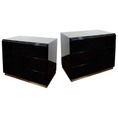 Thayer Coggin Black Lacquered Nightstand