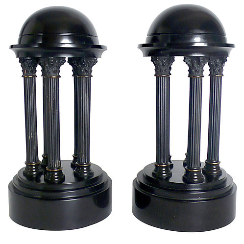 ITALIAN GRAND TOUR PAIR OF LITTLE MARBLE ROUND TEMPLE