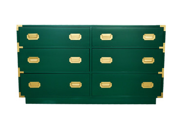 Hollywood Regency Green Lacquered Six-Drawer Dresser