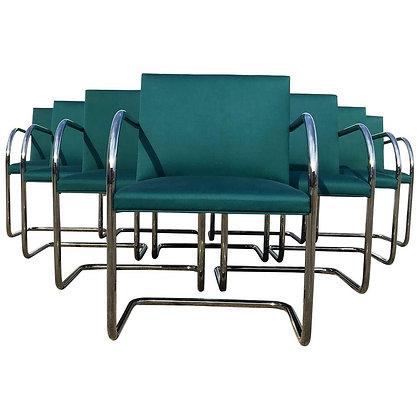Set of Ten Mies van der Rohe Tubular Brno Chairs by Knoll