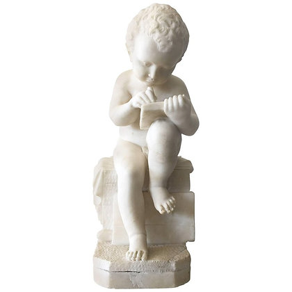 Carved White Marble Sculpture of a Child Writing