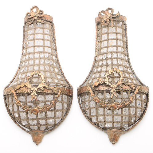 FRENCH EMPIRE STYLE BEADED BASKET WALL SCONCES