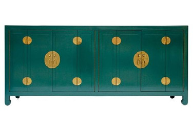 Forest Green Lacquered Asian Sideboard/Credenza