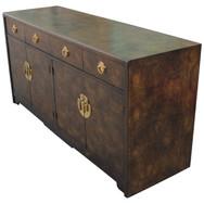 Vintage Brass Burlwood Dresser