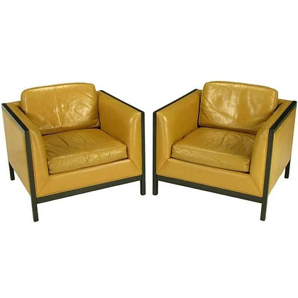 Pair of Stow Davis Leather, Ebonized Wood and Aluminium Even Armchairs