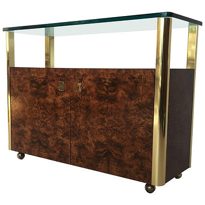 Burl Wood and Brass Sideboard by Century Furniture Company