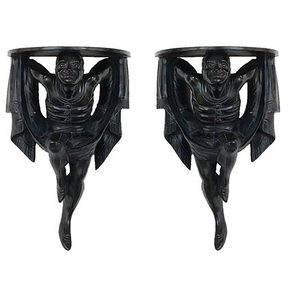 Pair of Polychrome Venetian Black Lacquered Blackamoor Wall Brackets