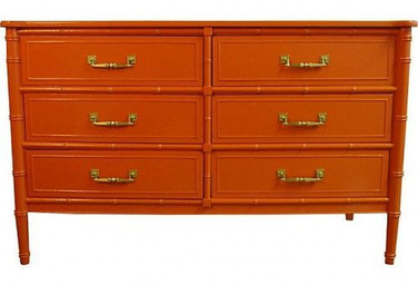 Orange Lacquered Henry Link Six-Drawer Dresser